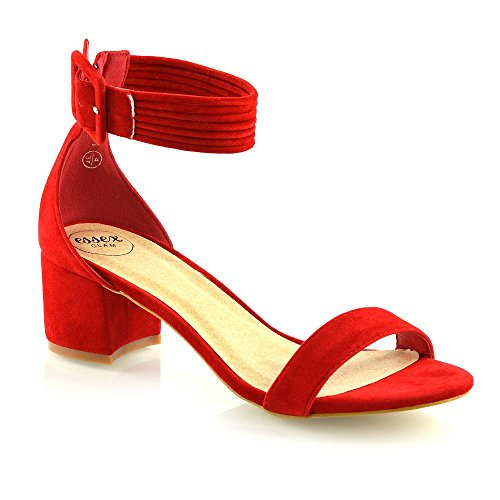 ESSEX GLAM Womens Ankle Strap Low Mid Heel Sandals Ladies Party Bridesmaid Open Toe Shoes Red