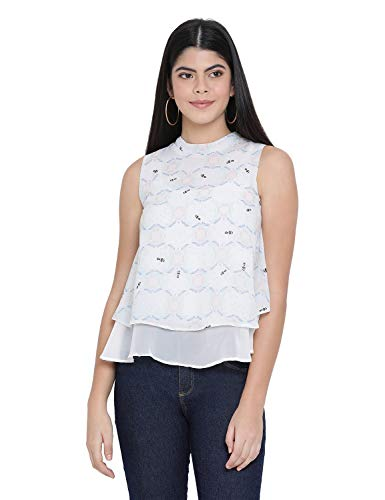 oxolloxo Women #39;s Polyester Sleeveless Printed Top  Multicolor