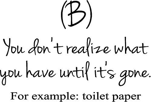 Toilet paper bathroom quote- inspiring & funny vinyl wall decal