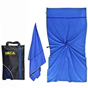 Beach Gym Travel Towel – 160x80cm / 63×31″ – Sand Free – Quick Dry – Ultralight – Snap Loop – 2 Large Hidden Zip Pockets – Compact – Bonus Ebook and Mesh Bag – Australia Designed – by Neca Towels