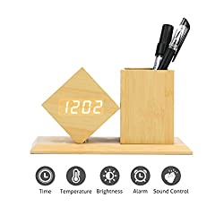 GLOREEY Wooden Pen Cup Office Supplies Desk Organizer Pen and Pencil Holder Stationery Storage Box with Time Date Display, Wooden Alarm Clocks, Combination of Pen Holder and Alarm Clock, 3 Alarm Sets
