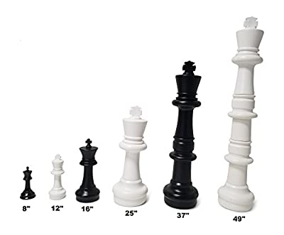 MegaChess Large Chess Pieces and Large Chess Mat - Black and White - Plastic - 12 inch King