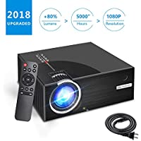 Portable LCD Video Projector - Aoxun 2018 Upgraded C7 Multimedia Home Theater Video Projector Support 1080P Compatiable with HDMI,AV, USB, SD, VGA for Home Cinema TV 2500 Lumens- Black