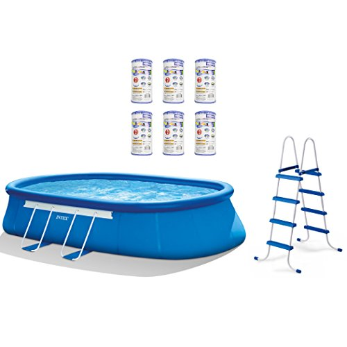 Intex 20' x 12' x 48'' Oval Frame Above Ground Pool Set + Filter Cartridges (6) by Intex
