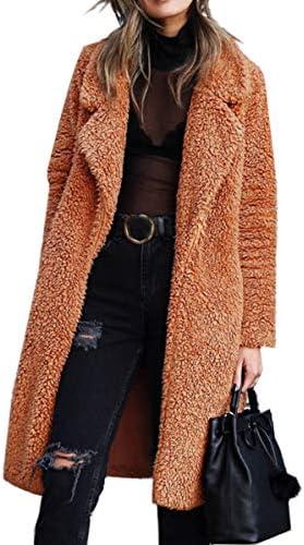 Angashion Women's Fuzzy Fleece Lapel Open Front Long Cardigan Coat Faux Fur Warm Winter Outwear Jackets with Pockets