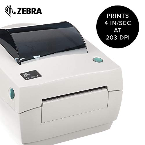 Zebra - GC420d Direct Thermal Desktop Printer for Labels, Receipts, Barcodes, Tags, and Wrist Bands - Print Width of 4 in - USB, Serial, and Parallel ...
