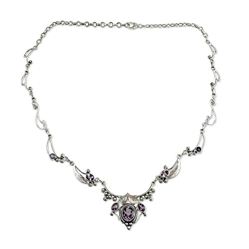 NOVICA Amethyst .925 Sterling Silver Pendant Necklace, 15.25 Queen of Nature