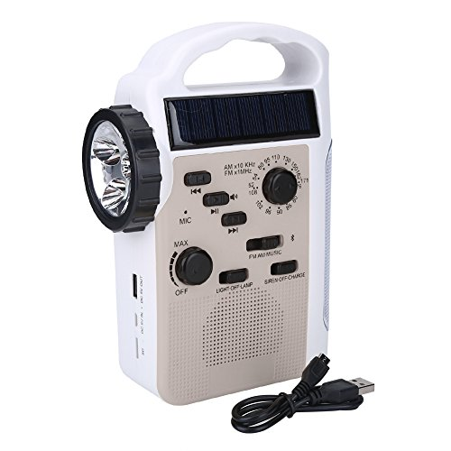 Solar Emergency Radio Multi-Functional Solar LED Flashlight Radio Hand Crank AM/FM NOAA Weather Radio Audio Box Charger Cell Phone Charger for Hiking Camping (Gold)