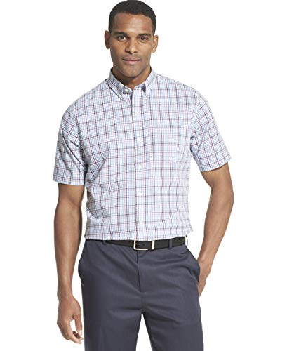 Van Heusen Men's Flex Short Sleeve Button Down Tattersal Shirt, Forever Blue, X-Large