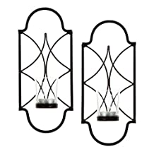 "Hosley Set of Two, 12"" High Iron Tea Light Candle Wall Sconces. Ideal Gift for Spa, Aromatherapy, wedding. Hand made by Artisan"