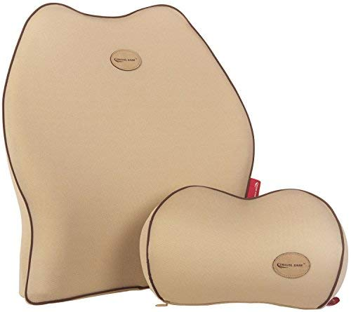 Travel Ease Car Lumbar Support Back Cushion & Headrest Neck Pillow Kit for Seat Cushion Memory Foam Erognomic Design Universal Fit for Car Seat with Back Pain Relief (Beige)