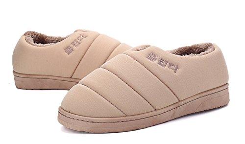 Icegrey Damen Herren Warme Hausschuhe Liebhabers Baumwolle gefütterte Schuhe Plüsch Pantoffel Khaki 44