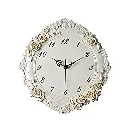 LQW HOME European Wall Clock Creative Resin Rose Carving Wall Clock Watch Living Room Bedroom Mute Art Quartz Wall Clock Practical (Color : Beige, Size : 12 inches)
