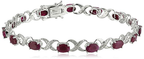 Pinctore Ster Silver 8 cttw Ruby and Diamond Accented Tennis Bracelet, 7.25