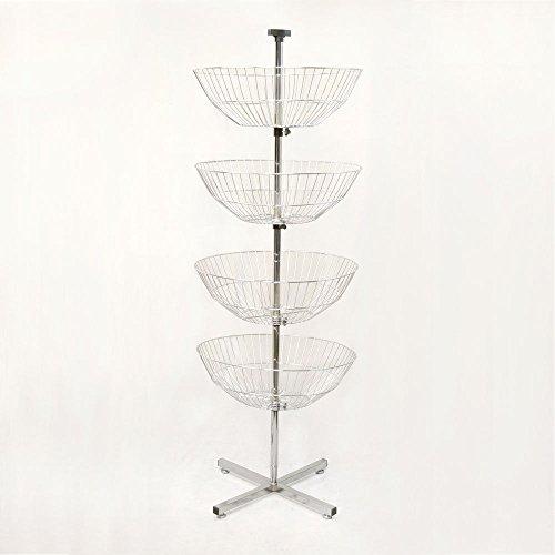 Dump Display - 63'' High 4 Basket Display Clothes Rack Tier Spinner Rack Dump Bin Retail Fixture Merchandising