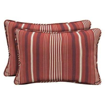 Modern Red Striped Set of 2 Outdoor Pillows Lumbar Throw Corded 20 x 13 Patio : Garden & Outdoor