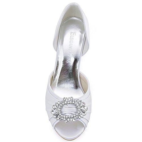 Peep Satin De Mujer Zapatos Novia Boda Aguja Rhinestones A2136 Blanco Plisado De ElegantPark Toe AEaq01