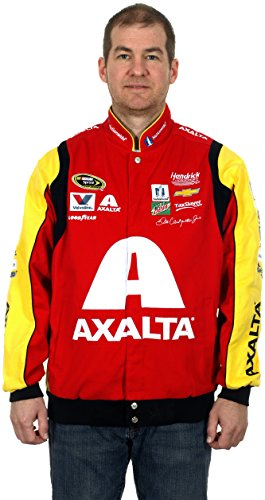 Nascar Jacket Twill Red - Dale Earnhardt Jr #88 Axalta Red/Yellow Cotton Twill NASCAR Racing Jacket (Large)
