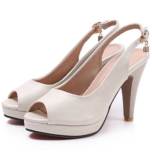 TAOFFEN Beige Chaussures Toe Ete Slingback Sandales Femmes Peep rOan480rq