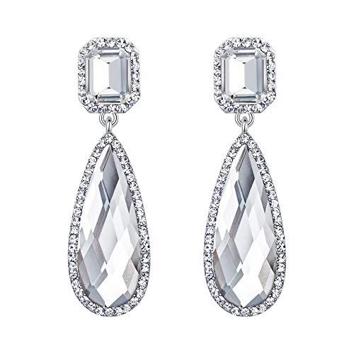 Asscher Silver Earrings - BriLove Wedding Bridal Dangle Earrings for Women Crystal Asscher Cut Elongated Faceted Teardrop Infinity Earrings Clear Silver-Tone