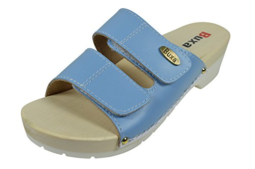 Buxa Damen Hellblau Leder Sandalen / Clogs mit Doppelt Klettband Riemen und Gummi / Holz Sohle, Größe 40