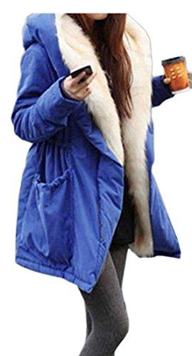 amp;S Jacket M Coat Hooded Fur amp;W Long Faux Women's Warm Sleeve Blue azFwAzxqd