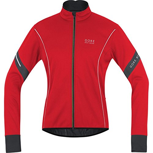 Gore Bike Wear Men's Power 2.0 Windstopper  Soft Shell Jacket, Red/Black, Large