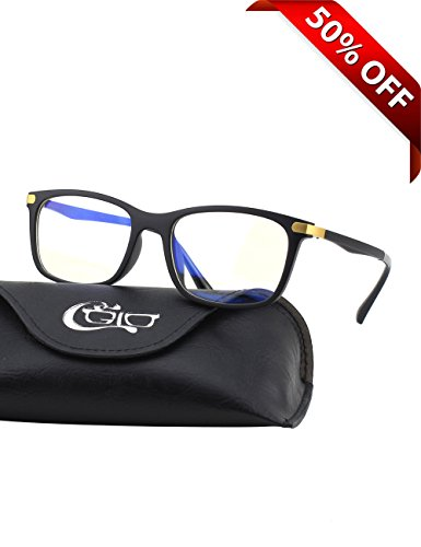 CGID CT46 Premium TR90 Frame Blue Light Blocking Glasses,Anti Glare Fatigue Blocking Headaches Eye Strain,Safety Glasses for Computer/Phone/Tablet,Rectangle Flexible Unbreakable Frame,Transparnet - Computer Sunglasses Screen