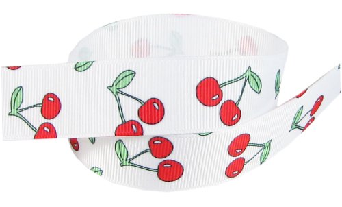 HipGirl Fruit Printed Grosgrain Ribbon-Apples, Strawberries, Cherries etc (5yd 7/8