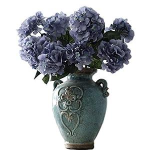 Helen Ou@ 1 Bunch 6 Heads Artificial Hydrangea Bridal Bouquet Silk Flowers Arrangement for Home Decor or Wedding Decoration Blue 87