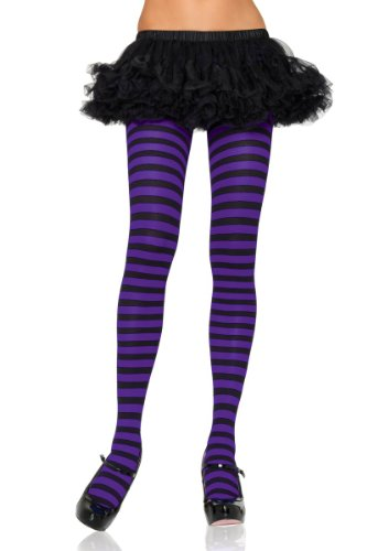 [Leg Avenue Women's Nylon Striped Tights, Black/Purple, One Size] (German Sparkle Party Costume)