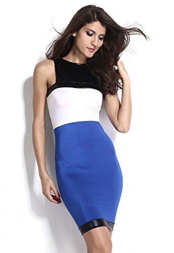 Neue Damen Blau Weiß amp; Wetlook Kleid Club Wear Abend Party tragen ...