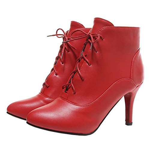 AIYOUMEI Damen Stiletto High Heel Herbst-Winter Stiefeletten mit Schnürung Lacp Up Ankle Boots Rot