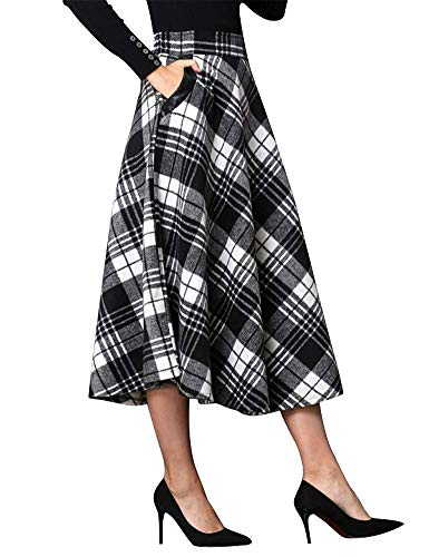 IDEALSANXUN Womens High Elastic Waist Maxi Skirt A-line Plaid Winter Warm Flare Long Skirt (Small, Mid-Calf -