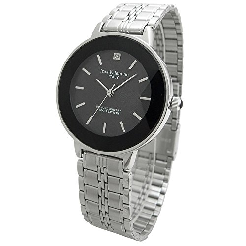 Izax Valentino watch round type 1P natural diamond cut glass metal watch black IVG-200-3 Men's