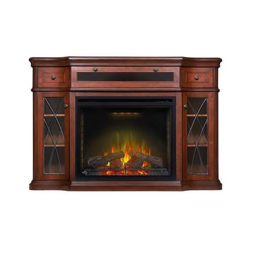 Napoleon NEFP33-0614AM The Colbert 33″ Media Package Complete with Compartment for Electronic Media Components Pedestal Base Remote Control and the Ascent 33″ Electric Fireplace in Antique Mahogany