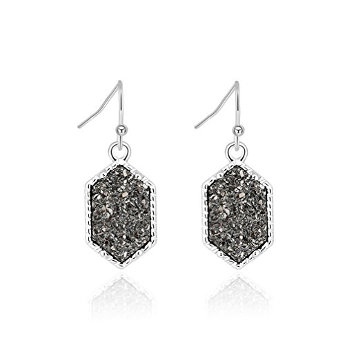 - Grey Faux Druzy Dangling Hook Earrings Hexagonal Silver-Tone Jewelry Gifts for Mother's Day (silver/gray)