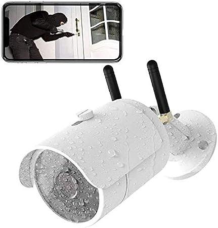 Cámaras de Vigilancia WiFi Exterior, Cámaras IP Inalámbricas 3G para Cámaras con Monitor Video En Vivo, IP65 Prueba Agua, Visión Nocturna 720P, Detección Movimiento, Alerta Actividad, Acceso Remoto