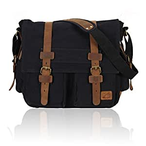 Hynes Eagle Military Canvas & Leather Messenger Bag (Black)