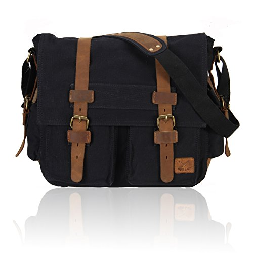 Hynes Eagle Vintage Canvas Leather Messenger Bag for Travel Outdoor Hiking School Black