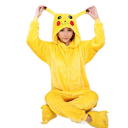 [Aurora Bridal Animal Sleepsuit Costume Cosplay Wear Kigurumi Onesie Pajamas Pikachu S] (Customes Halloween Maternity)