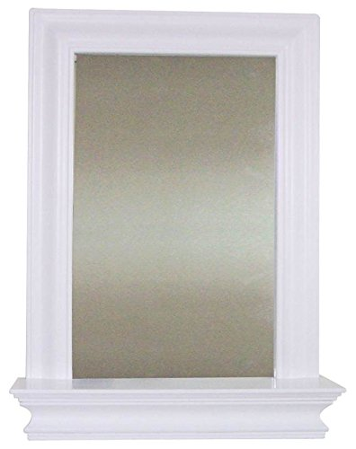 Elegant Home Fashions Stratford Collection Framed Mirror with Shelf, White ()