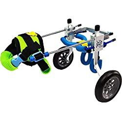Dog Pet Wheelchair Adjustable Stainless Steel Dog Wheelchair, Rear Support Wheelchair, Adjustable Pet/Cat Dog Wheelchair Hind Leg Rehabilitation for Handicapped Dog, 2-Wheel Dog Pet Stroller