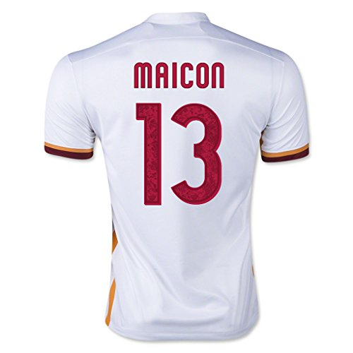 13 White Replica Football Jersey - A.S. Roma #13 Maicon 2015/16 Away Soccer Adult Football Jersey