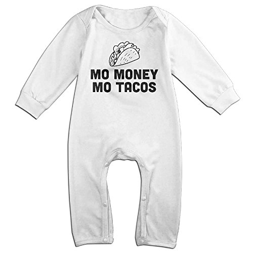 Sexy Costumes Taco (Baby Infant Romper Mo Money Mo Tacos Long Sleeve Jumpsuit Costume White 6)