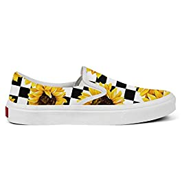 SEERTED Cute Sunflowers Checkerboard Sneakers Slip-On Cool Shoes for Women Black