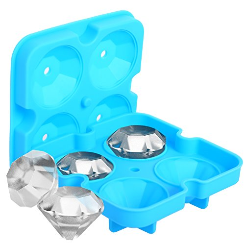 (Ice Cube Trays with Lid, Large Black or Blue Silicone Ice Cube Molds, Food-grade Flexible and BPA Free Diamond Ice Cube Maker by)