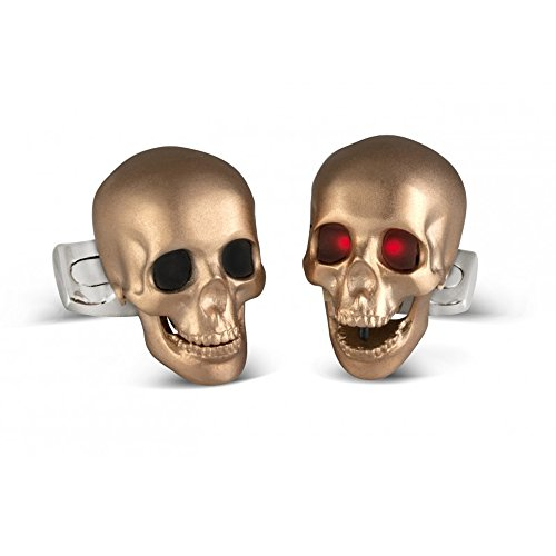 Deakin & Francis Skull Cufflinks With LED Eyes In Rose Gold Satin Finish
