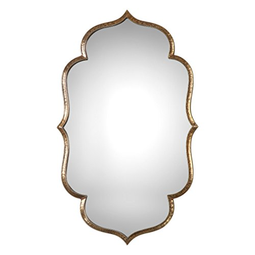 MY SWANKY HOME Arabesque Quatrefoil Gold Wall Mirror | Vanity Moroccan Shaped -