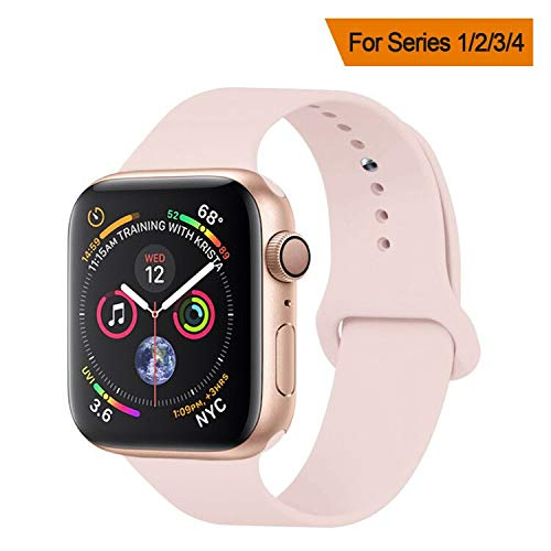 YANCH Compatible Apple Watch Band 38mm 42mm 40mm 44mm, Soft Silicone Sport Band...